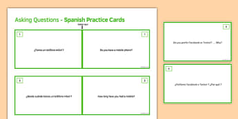 General Conversation Technology in Everyday Life Question Double Sided Cards Spanish/English
