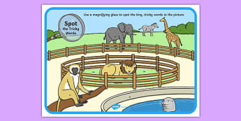 Phase 2 Tricky Words Zoo Scene Magnifying Glass Poster