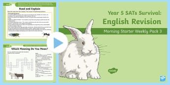 Year 5 English Revision Morning Starter Weekly PowerPoint Pack 3 - assessment, reading comprehension, think and write, prefix, homophones,