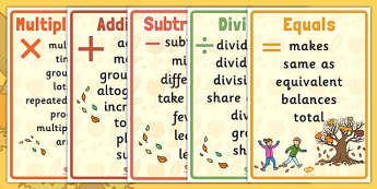 Autumn Themed Maths Vocabulary Display Poster Pack - autumn, maths, vocabulary, display