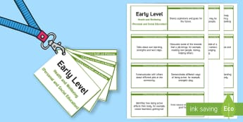 CfE Early Level Health and Wellbeing (Personal and Social Education) Lanyard-Sized Benchmarks-Scottish - CfE Benchmarks, tracking, assessing, progression, health and wellbeing, personal, social, HWB, Curri