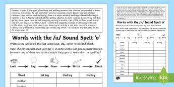 Year 2 Spelling Practice /u/ Sound Spelt 'o' Homework Activity Sheet - ks1, English, year 2, practice, home learning, home work, homework, Worksheet, practise, SPaG, spell