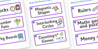 Butterfly Themed Editable Maths Area Resource Labels - Themed maths resource labels, maths area resources, Label template, Resource Label, Name Labels, Editable Labels, Drawer Labels, KS1 Labels, Foundation Labels, Foundation Stage Labels, Teaching L