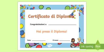 Diplomino Scuola Elementare Certificato - certificato, diplomino, diploma, scuola, elementari, congratulazioni, certificato, italiano, italian