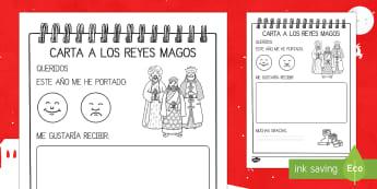 ¡Dibuja la carta a los Reyes! Ficha de actividad - Carta, Reyes Magos, Navidad, dibujo, pre-escritura.,Spanish
