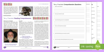 Terry Pratchett Differentiated Reading Comprehension Activit - Comprehensions KS3/4 English