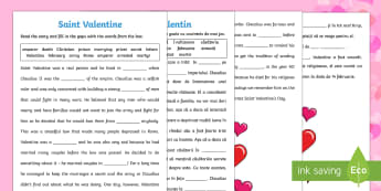 Saint Valentine Cloze with Word Bank Activity Sheet English/Romanian - Saint Valentine Cloze with Word Bank Activity Sheet - Saint Valentine, cloze activity, solutions, hi