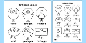 2D Shapes Words Colouring Sheets - 2D, shape, colouring, wet play, 2D shape, circle, hexagon, octagon, oval, pentagon, rectangle, square, triangle, oblong