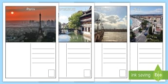 Holiday in France Postcard Writing Frames - KS3, French, Travel, Tourism, holidays, transport, weather, activities, vacances, voyage, ,French