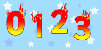 Editable Display Numbers 0-20 Fire - editable, display, numbers