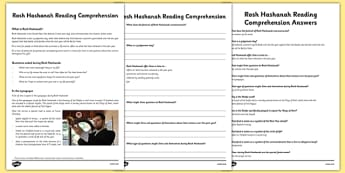 Rosh Hashanah Reading Comprehension Activity - rosh hashanah, comprehension