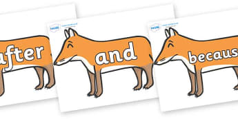 Connectives on Foxes - Connectives, VCOP, connective resources, connectives display words, connective displays