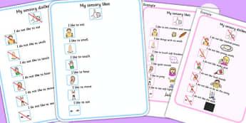 My Sensory Preferences Visual Support Cards - senses, SEN, card