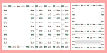 Transport Full Page Borders - page border, border, frame, writing frame, transport writing frames, transport page borders, travel, transport, transportation, modes of transport, writing template, writing aid, writing, A4 page, page edge, writing acti