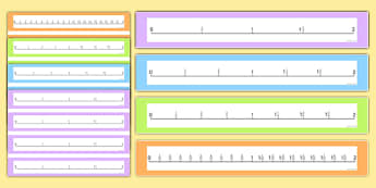 Fractions Number Lines to 2 - thirds, quarters, tenths, halves, numbers, fractions, fraction, half, quarter, third, 3rd, visual, aid