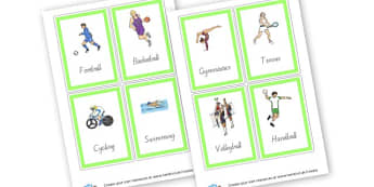Sports Cards (4 per page) - PE & Sports, Literacy, PE and Sports Primary Resources, Sports, P