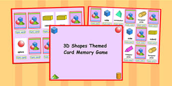 3D Shape Matching Cards Activity PowerPoint - 3D, 3D shape, shape