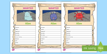 Name the Alien Themed Wanted Poster - alien, monster, space, planet, creature, description, describe, character, describing, profile