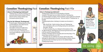 Canadian Thanksgiving Fact File