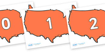 Numbers 0-31 on USA - 0-31, foundation stage numeracy, Number recognition, Number flashcards, counting, number frieze, Display numbers, number posters