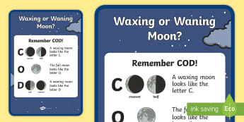 Waxing or Waning Moon Display Poster - Science, moon phases, science mnemonic, moon poem, ACSSU019, Celestial observation, ACSSU078, DOC, C