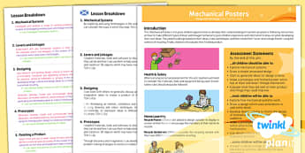 PlanIt - DT LKS2 - Mechanical Posters Planning Overview CfE - planit, dt, design and technology, mechanical posters, planning, overview, cfe