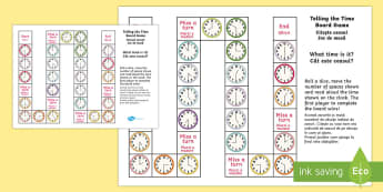 Telling the Time Differentiated Board Game English/Romanian - Differentiated Telling the Time Board Game - telling the time, board game, tell, time, game, activit