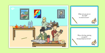Art Lesson Scene and Question Cards Polish Translation - polish, art lesson, questions, comprehension pack