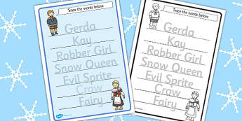 The Snow Queen Trace the Words Worksheets - worksheet, motor