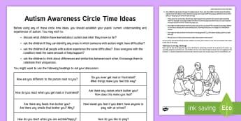 Autism Awareness Circle Time Teaching Ideas - KS1&KS2 World Autism Awareness Day (2nd April 2017), circle time, discussion, KS2, PSHE, SEN