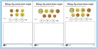 Adding Coins Worksheet Gaeilge - roi, republic, ireland, irish, euro, euros, money, addition, add, calculate, activity, workseet, maths