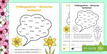 Frühlingswörter: Wortarten bestimmen Arbeitsblatt - Frühling, Nomen, Adjektiv, Verb, Wortarten, spring, noun, adjective, verb, parts of speech,German