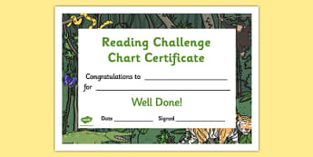 Reading Challenge Chart Certificates Jungle Themed - Reading Challenge Chart Certificates, Jungle Themed Certificate, Reading Certificate