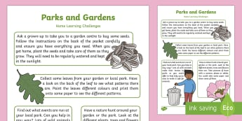 Parks and Gardens Home Learning Challenges Nursery FS1 - parks, gardens, outside, outdoors, wildlife, animals, plants, flowers, trees