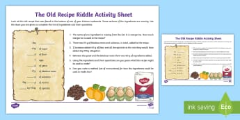 Old Recipe Riddle Weight Activity Sheet - weight, measures, mental maths, activity sheet, worksheet, recipe, cloze,Irish, worksheet