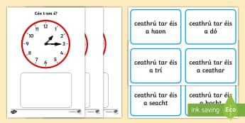 Clock Matching -  Quarter Past Game - Requests - ROI, Irish, Gaeilge, Time, am, an t-am, clocks, clock, clog, an chlog,Irish, worksheet