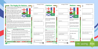 KS2 The Rugby Six Nations Differentiated Comprehension Go Respond Activity Sheets - KS1 & KS2 Rugby Six Nations  (4th February 2017), 6 nations, go respond, typing in, type in, reading