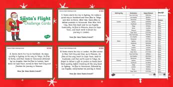 Santa's journey around the World Differentiated Maths Challenge Cards-Australia