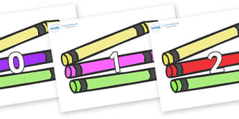 Numbers 0-50 on Crayons - 0-50, foundation stage numeracy, Number recognition, Number flashcards, counting, number frieze, Display numbers, number posters