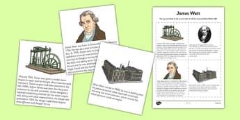 Scottish Significant Individuals James Watt Sequencing Activity Sheet - CfE, significant individuals, engineering, steam engine, horsepower, watt, science, inventions, inventor, curriculum, excellence, worksheet