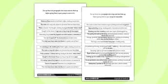 LKS2 Grammatical Consistency Separating Two Paragraphs Worksheet
