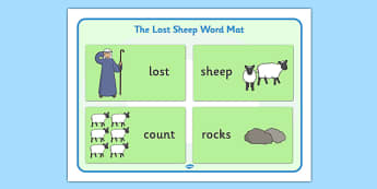 The Lost Sheep Word Mat Images - the Lost Sheep, sheep, shepherd, lost sheep, word mat, writing aid, mat, 100, 99, search, searching, looking for, safe, carried home, bible story, bible, party, happy