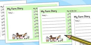 Farm Diary And To Do List - farm, diary, role play, writing