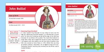 Battle of Bannockburn Significant Person: John Balliol Fact File  - CfE Battle of Bannockburn, King Edward II, Robert the Bruce, Scots, Alexander III, 1314, war of inde