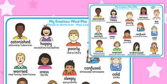My Emotions Word Mat Polish Translation - polish, my emotions, word mat