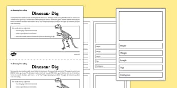 Dinosaur Dig Activity Sheet - dinosaur, top trumps, activity, dig, worksheet