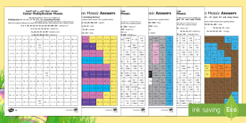 Easter Multiplication Mosaics Differentiated Activity Sheets Arabic/English - UKS2 Easter 2017 (16th April), year five, year 5, Y5, year 6, year six, Y6, maths, multiplication, k