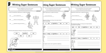 Writing Super Sentences Differentiated Activity Sheet Pack - GPS, grammar, punctuation, capital letters, full stops, worksheet