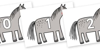 Numbers 0-100 on Horse to Support Teaching on What the Ladybird Heard - 0-100, foundation stage numeracy, Number recognition, Number flashcards, counting, number frieze, Display numbers, number posters
