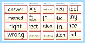 Problem Solving Vocabulary Cards (Year 4) - problem solving vocabulary cards, year 4, year four, vocabulary cards, cards, flashcard, problem solving, how to solve a problem, solve, solution, problems, how to, finding a solution, problem